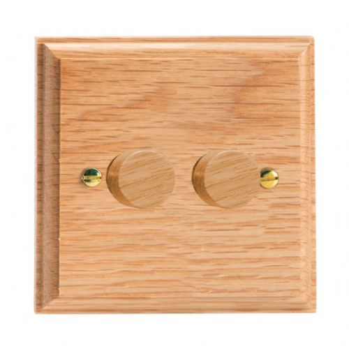 Varilight HK4O Kilnwood Oak 2 Gang 2-Way Push-On/Off Dimmer 40-250W V-Dim